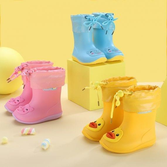 Children's Rubber Boots Boys Girls PVC Rain Boots Waterproof Non-Slip Shoes Cartoon Children's Water Shoes Girls' Boots KS646 1